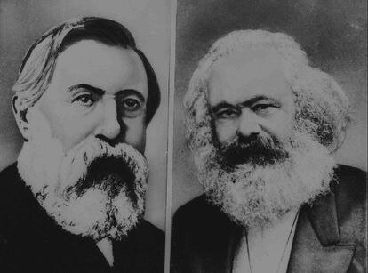 """Retratos de Frederick Engels y Karl Marx, autores del """"Manifiesto Comunista""""."""