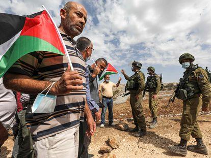 Manifestación palestina contra un asentamiento judío el pasado viernes en Cisjordania.