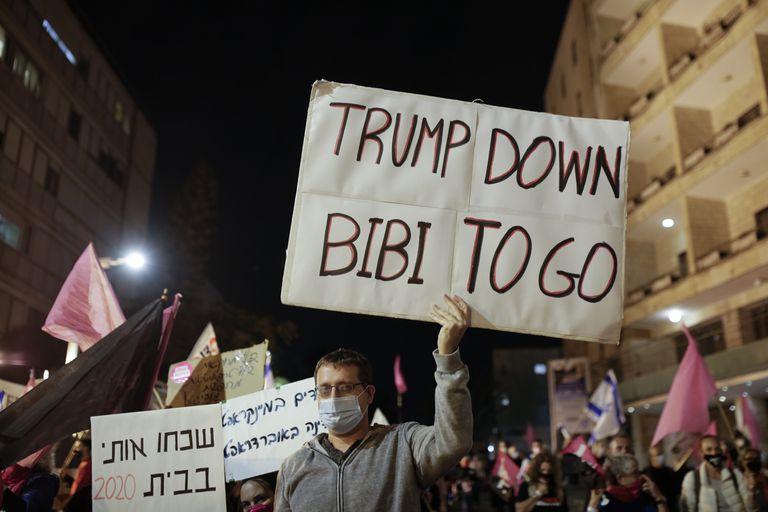 Manifestación contra el primer ministro israelí el sábado en Jerusalén.