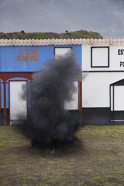 Momento de la explosión en un simulacro de desminado
