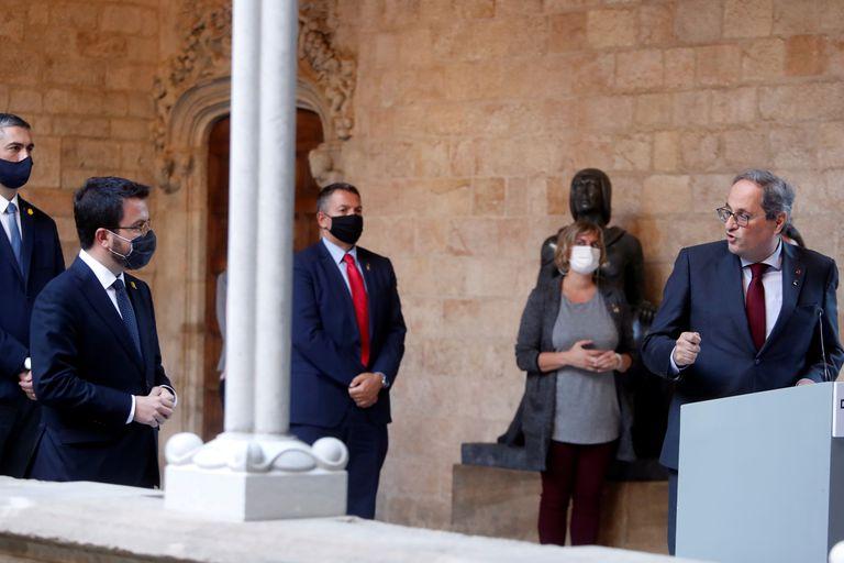Quim Torra y Pere Aragonès, el pasado lunes en el Palau de la Generalitat.