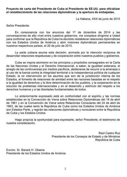 Carta de Raúl Castro.