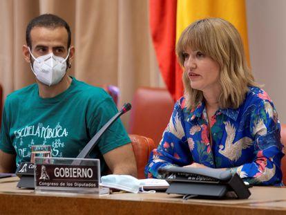 La ministra de Educación, Pilar Alegría, este miércoles durante su comparecencia en la comisión de Educación del Congreso.