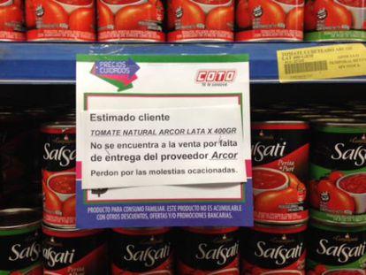 Cartel en un supermercado de Buenos Aires de aviso a los clientes.