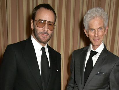Tom Ford y Richard Buckley en una cena en Los Ángeles, California, en febrero de 2017.