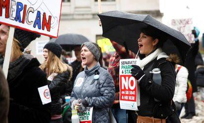 Una protesta de los antivacunas en Washington, en febrero.