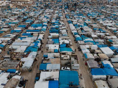 Campo de refugiados sirios en Atma, en la frontera entre Siria y Turquía, el pasado 15 de enero.