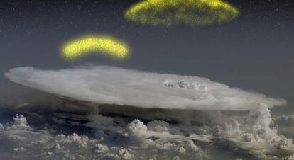 Ilustración de electrones que ascienden de una nube de tormenta.