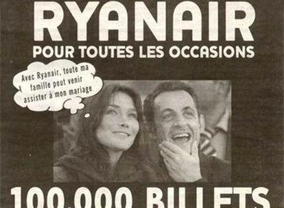 """""""Con Ryanair, toda mi familia puede venir a mi boda"""", piensa Carla Bruni en el anuncio de Ryanair"""