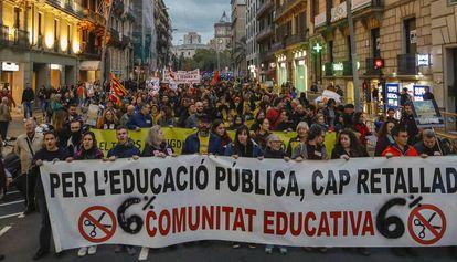 Manifestación del sector docente en Barcelona contra los recortes.