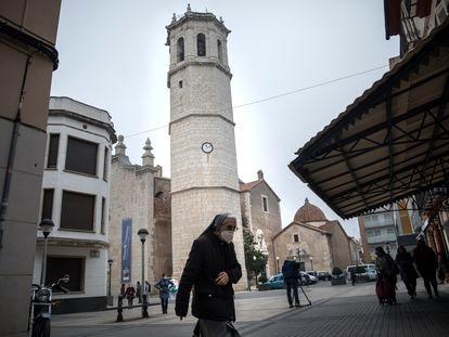 El campanario exento de Benicarló, en una imagen del pasado mes de febrero.
