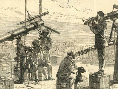 Astrónomos británicos esperan el eclipse de 1871 en India.