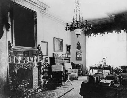 Sala de estar victoriana en Norris Green, Liverpool (1860). |