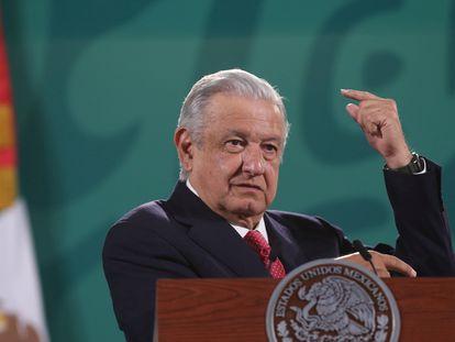 El presidente mexicano, Andrés Manuel López Obrador, durante su conferencia matutina en Palacio Nacional.