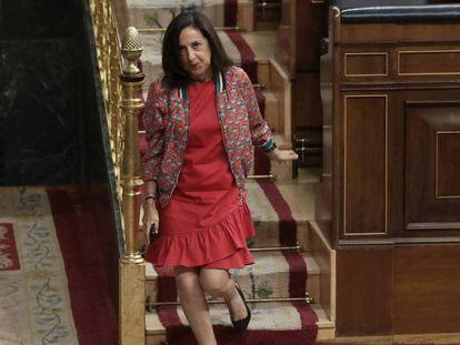 La ministra de Defensa, este miércoles en el Congreso. En vídeo, la ministra de Defensa, Margarita Robles, durante su comparecencia el lunes en el Senado.