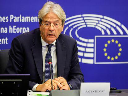 El comisario de Economía, Paolo Gentiloni, en el Parlamento Europeo, el pasado 19 de octubre, en Estrasburgo (Francia).