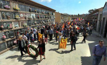 Homenaje en Valencia a las víctimas del franquismo organizado por el Fòrum per la Memòria del País Valencià el pasado abril