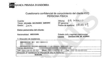 Documento Know your client (conozca a su cliente, en inglés) que rellenó en la Banca Privada d'Andorra (BPA) para abrir una cuenta la senadora del PRI Sylvana Beltrones