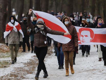 Manifestación contra Aleksandr Lukashenko, el pasado domingo en Minsk.