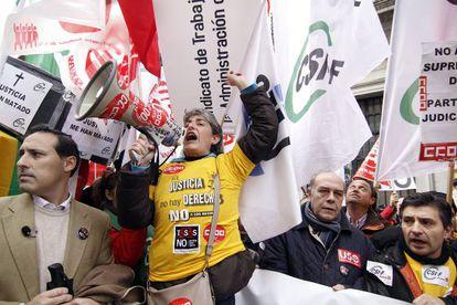 Manifestación de los funcionarios de Juticia contra los recortes y la imposición de las tasas.