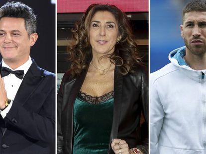 Alejandro Sanz, Paz Padilla y Sergio Ramos.