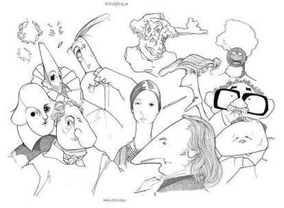 De izquierda a derecha: William Shakespeare, Miguel de Cervantes, J. W. Goethe, Jorge Luis Borges, Homero, Emily Dickinson, J. P. Eckermann, Virginia Woolf, Wole Soyinka, García Márquez y Gao Xingjian.