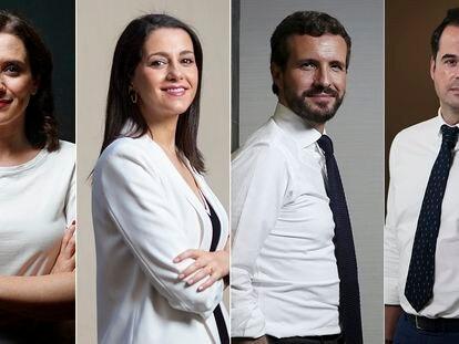 Desde la izquierda, Isabel Díaz-Ayuso (PP), Inés Arrimadas (Cs), Pablo Casado (PP) e Ignacio Aguado (Cs).