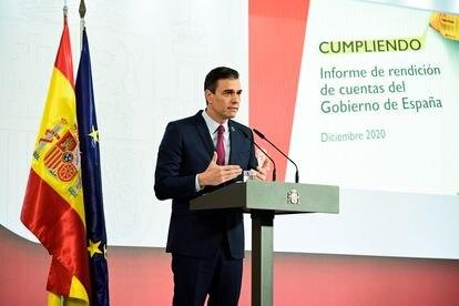 El presidente del Gobierno, Pedro Sánchez, da una rueda de prensa el 29 de diciembre en La Moncloa.