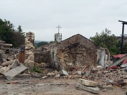 Vivienda de Paramos (Tui) donde murió un matrimonio en la explosión de un almacén pirotécnico ilegal.