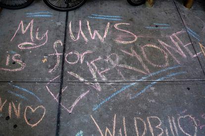 Chalk-written message on an Upper West Side sidewalk in Manhattan in August 2020.