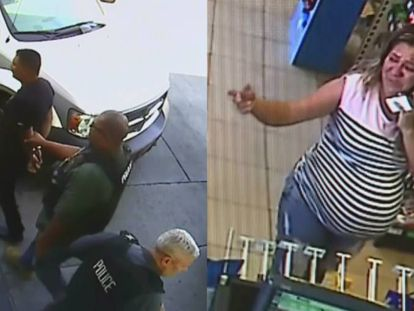 A la izquierda, Arrona es detenido en la gasolinera. A la derecha, Venegas en el interior de la tienda. Imágenes de cámaras de seguridad tomadas de CBS