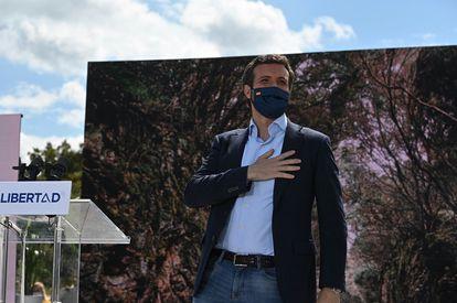 Pablo Casado en un acto electoral en Majadahonda (Madrid), este sábado.