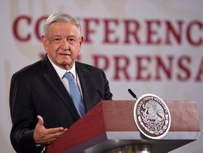 López Obrador, durante su conferencia de prensa de este lunes.