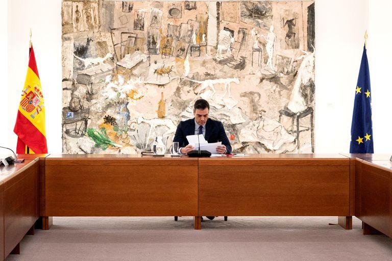 El presidente Pedro Sánchez durante la reunión del comité de gestión técnico de este lunes.