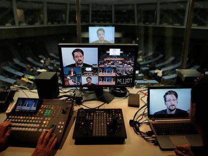Snowden participa en un debate del Consejo de Europa, el pasado 15 de marzo.