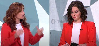 Mónica García (izquierda), e Isabel Díaz Ayuso, durante el debate electoral.