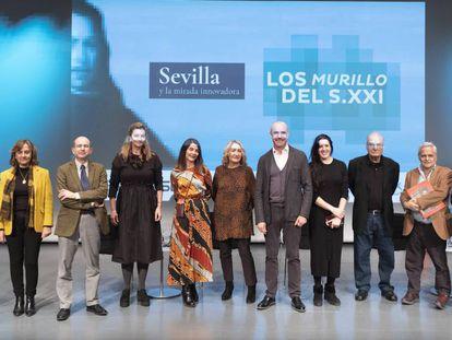 Participantes en el encuentro sobre Murillo celebrado este lunes en Sevilla.