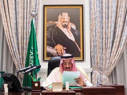 El rey Salman bin Abdulaziz pronunciando su discurso durante la 75a sesión virtual de la Asamblea General de las Naciones Unidas.