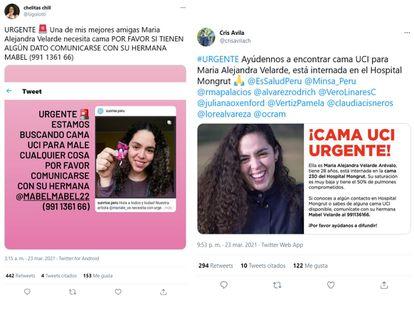 Imágenes de mensajes en redes sociales buscando una cama de UCI para María Alejandra Velarde.