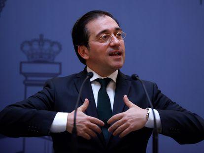 El ministro de Asuntos Exteriores, José Manuel Albares, este miércoles en su ministerio.