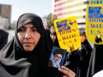 Una iraní, en una manifestación contra EE UU el mes pasado.
