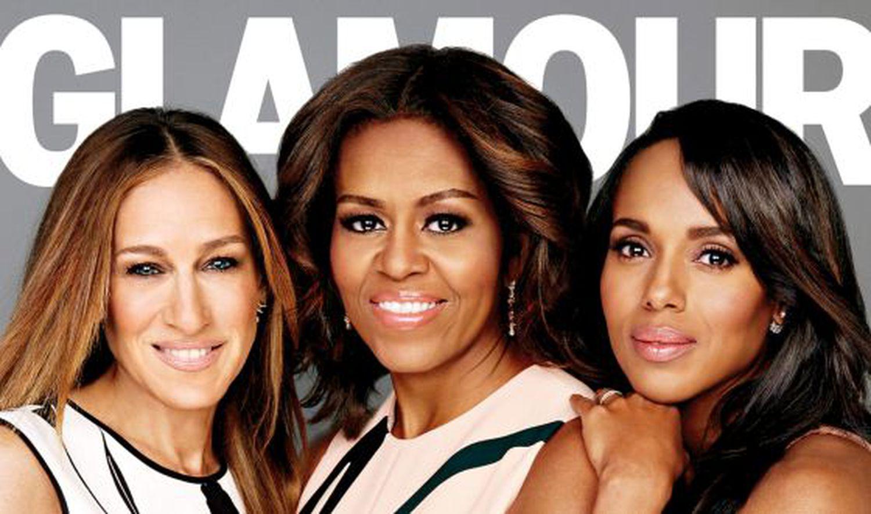 Sarah Jessica Parker, Michelle Obama y Kerry Washington, en la portada de la revista 'Glamour'.