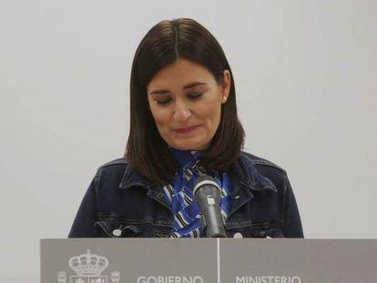 Carmen Montón, durante el anuncio de su dimisión como ministra de Sanidad. En vídeo, la jueza archiva el caso sobre el máster de la exministra Carmen Montón.