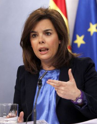 Soraya Sáenz de Santamaría, en la rueda de prensa tras el Consejo de Ministros.