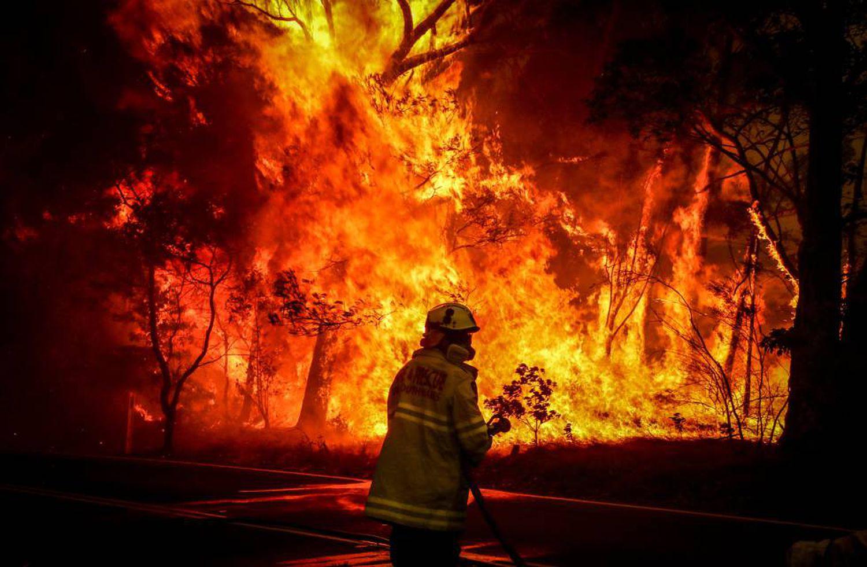 Un bombero intenta apagar un incendio en Bilpin (Australia) el 19 de diciembre de 2019.