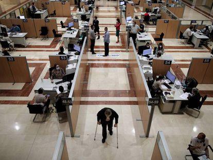 La oficina de la Agencia Tributaria de la calle de Guzmán el Bueno, en Madrid.