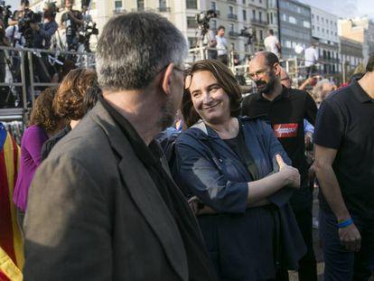 La alcaldesa de Barcelona, Ada Colau, en la manifestación del sábado.