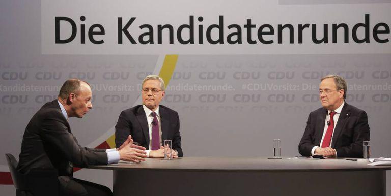 De izquierda a derecha, Friedrich Merz, Norbert Roettgen y Armin Laschet, candidatos a suceder a Angela Merkel al frente de la CDU.