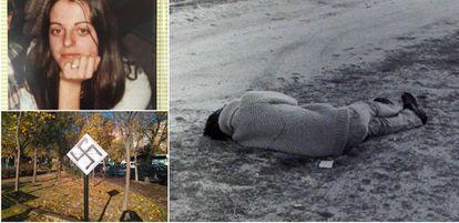 Arriba a la izquierda, retrato de Yolanda González. A la derecha, Yolanda yace en el suelo asesinada por ultraderechistas. Abajo a la izquierda, placa de homenaje a Yolanda, mancillada con una pintada nazi.