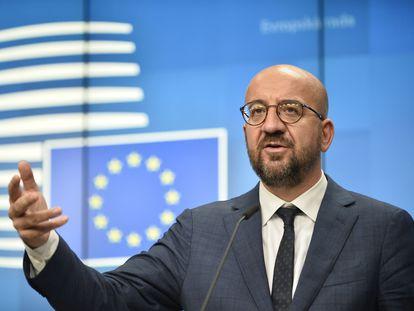 El presidente del Consejo Europeo, Charles Michel, durante la rueda de prensa posterior a la primera jornada del Consejo Europeo.